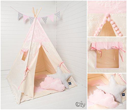 Handmade Spielzelt, Kinderzelt, Indianisches Tipi Zelt, Teepee Romantic set 6 Elemente,