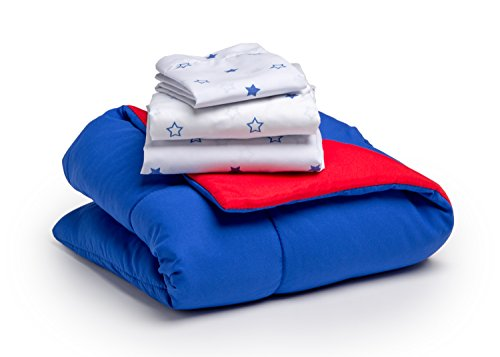 Toddler Bedding Set | Boys 4 Piece Collection | Fitted Sheet, Flat Top Sheet w/Elastic Bottom, Fitted Comforter w/Elastic Bottom, Pillowcase | Delta Children | Boys American | Red White Blue 7