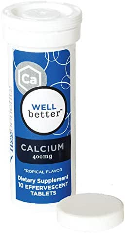 FizzBenefitz Calcium Carbonate Dissolvable Supplement with Tropical Flavor - 400mg Tablets Release as Powder in Water - Perfect for People Struggling with Pill Swallowing