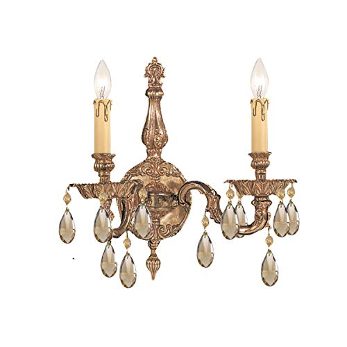 - Crystorama 2502-OB-GT-MWP Crystal Accents Two Light Sconces from Oxford collection in Brassfinish, 6.50 inches