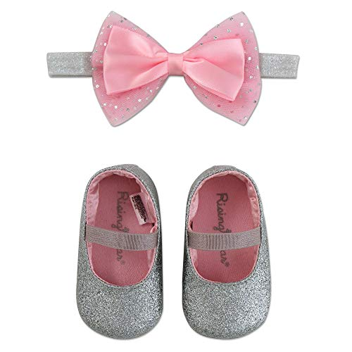 Rising Star Baby Girls Shoes and Headband Gift Box Set, Silver Bow, 0-6 Months
