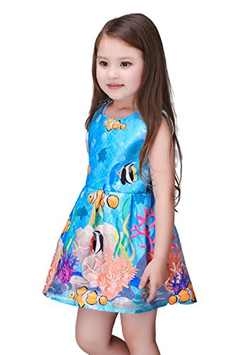 Kidscool Little Girls Sleeveless Blue Sea World Print Princess Dress