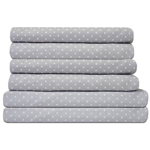 Sweet Home Collection Quality Deep Pocket Bed Sheet Set-2 Extra Pillow Cases, Great Value, Queen, Dot Gray, 6 Piece
