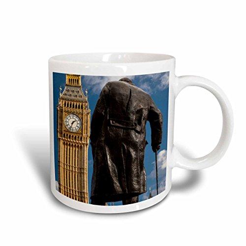 Churchill Clock - 3dRose 139862_2 Winston Churchill statue, Big Ben, London, England Mug, 15 oz, Ceramic