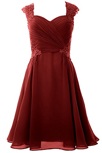 Wedding Party Women Formal Burgundy Dress Sleeve Short Cocktail Macloth Gown Cap 2017 AF8ww0q