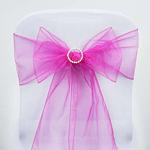 Efavormart 25pc x Wholesale Sheer Organza Chair Sashes Tie Bows for Chairs -Catering Wedding Decoration - Fushia/Hot Pink