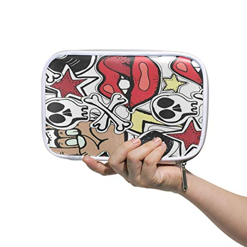 SLHFPX Crazy Punk Rock Large Pencil Case Multifunction Leather Makeup Brushes Bag Storage Zip Pouch