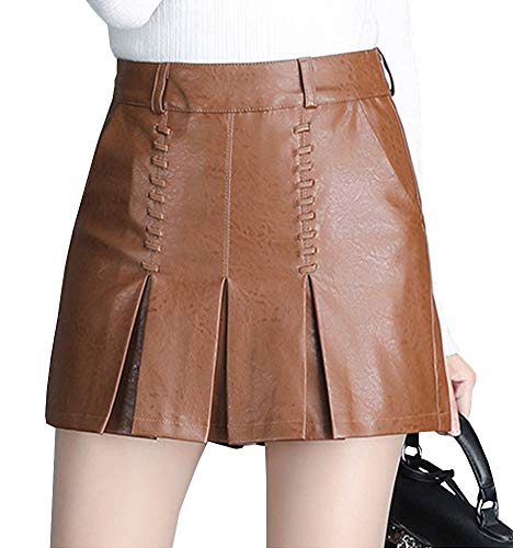 Marron Mini Girl E FS570 Taille Jupe Grande PU Short Cuir Club wvwOqIZ
