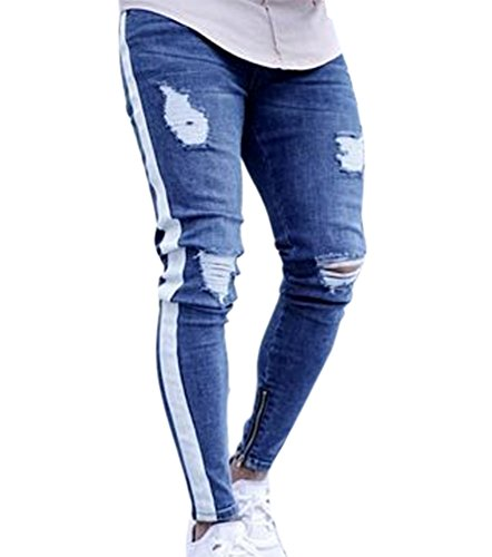Uomo Di Chiaro Strappati Jeans Distrutto Pantaloni Skinny 2 Da Blu Disegno Con Huateng Pxqt4Ywx