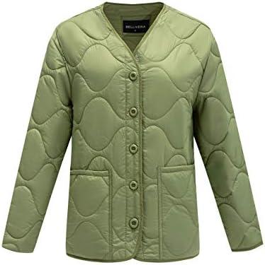 Bellivera Women's Quilted Lightweight Padding Jacket/Vest, Puffer Coat Cotton Filling