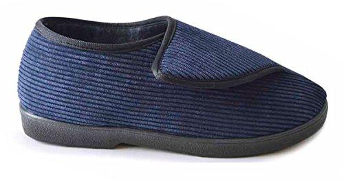 SlumberzzZ para hombre fácil de abrir cierre velcro estilo microfibra zapatillas completo de la espalda azul marino