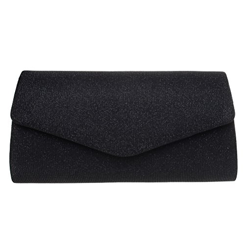 Evening Clutch, FASHIONROAD Womens Bling Envelope Clutch Purse For Wedding And Party Black