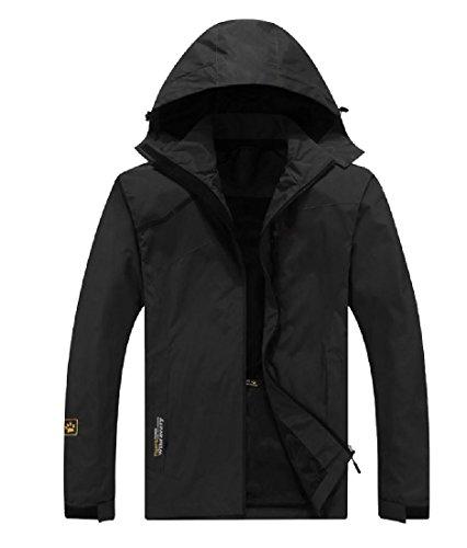 Freely Men's Gym Reflective Windbreaker Mountaineering Rain Jacket Black XL
