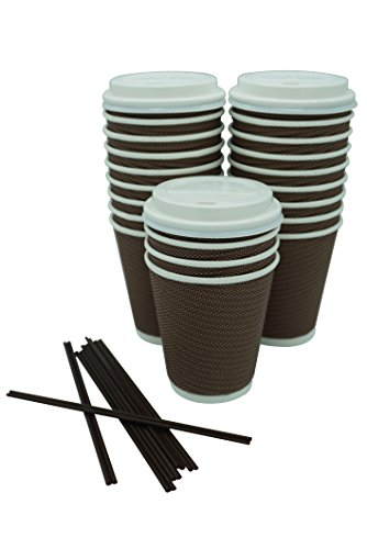 [100 COUNT] 12oz Premium Disposable Double Wall Paper Coffee Cups with Lids and Stir Straw - No Sleeves Needed - Slip Resistant - Insulated Ripple Double Wall for Hot Coffee, Tea, or Chocolate Drinks ()