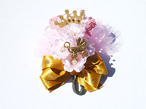 Royal Princess Baby Shower Corsage for Mother It's A Girl (#8330-PKGLD- Pink, Gold, Glitter)