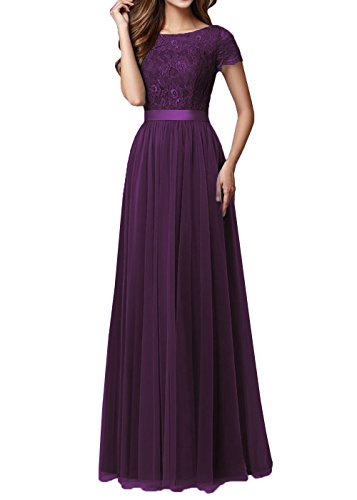 DYS Women's Lace Bridesmaid Dress Sleeves Tulle Prom Evening Dresses Long Eggplant US 4