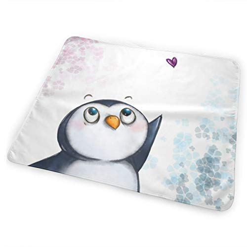 UBSOCKSG I Love Penguins Print Reusable Changing Mat Portable Waterproof Diaper Changing Travel Home Change Mat Organizer Bag Newborn Multi-Function Storage Bag