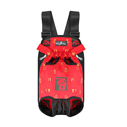 (Pettail Dog Kangaroo Pouch Front Pet Backpack Carrier, Wide Straps Shoulder Pads, Adjustable Legs Out Pet Backpack Carrier Walking, Travel, Hiking, Camping (Small, Red Print))