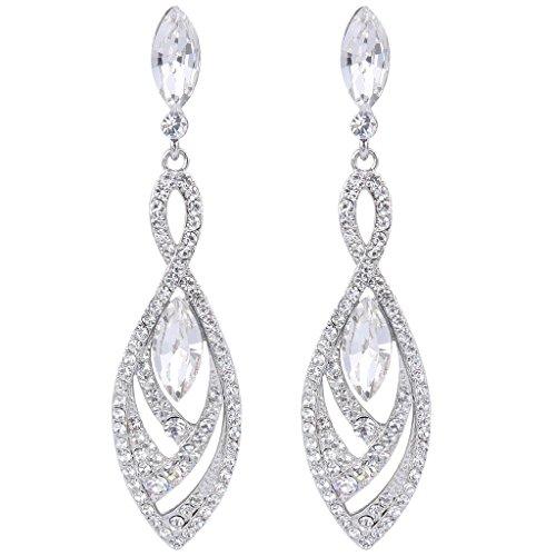 BriLove Womens Crystal Gorgeous Twisted Dual Chandelier Teardrop Fashion Pierced Dangle Earrings