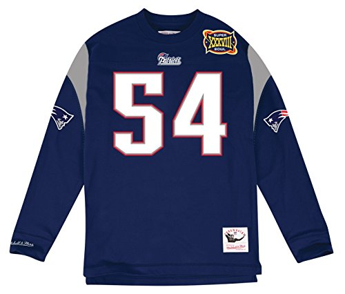New England Patriots Tedy Bruschi Mitchell & Ness Name & Number Long Sleeve Tee (X-Large) (Throwback Jersey T-shirt)