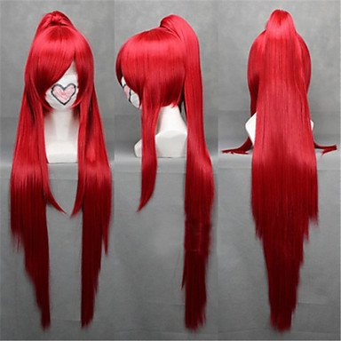 HJLHYL-Angelaicos Womens Ponytail Long Straight Red Halloween Cosplay Costume Wigs for Puella Magi Madoka Magica Sakura Kyoko , red ()