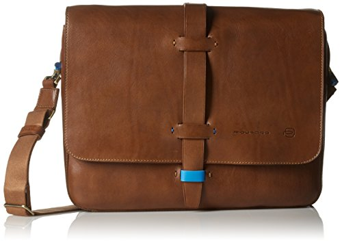 Piquadro Laptop Messenger Bag with iPad Air Sleeve Handmade By Tuscan Craftsmen, Copper, One Size
