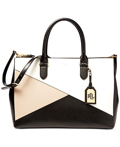 Ralph Lauren Ladies Leather Newbury Geo Block Satchel Bag Black White Porcini