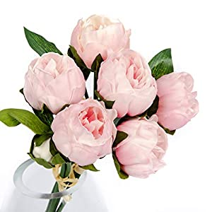 """Floral Kingdom 14"""" Mini Peony - Real Touch Latex Artificial - Flowers for Home décor, Wedding Bouquets, and centerpieces (6 Stems) 87"""