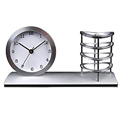 Office School Desktop Ornaments Metal Mute Table Clock Pen Pencil Holder Luxury Toy Gifts Home Decoration