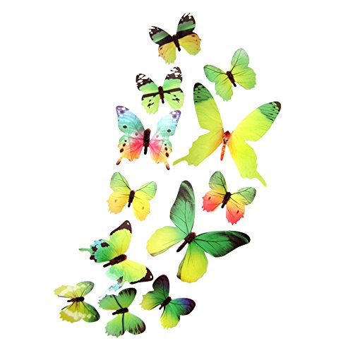 Fang-Ling 12 pcs 3D DIY Butterflies Wall Sticker, Home Room Decor New Stickers Decals Glitter Art Murals for Wall or Party Decorations (Green)