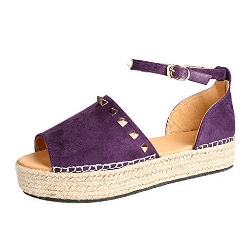 ◕‿◕Watere◕‿◕ Womens Espadrilles Platform Sandals Ankle Strap Peep Toe Shoes Wedge Ankle Strap Studded Open Toe Sandals Purple
