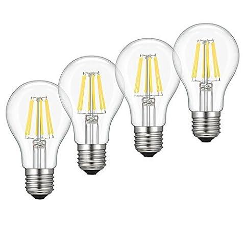 Dimmable Edison LED Bulb A19, Kohree 6W Vintage LED Filament Light Bulb, 4000K Daylight, 60W Incandescent Equivalent, E26 Medium Base Lamp for Restaurant,Home,Reading Room,Office, Pack of (60w Led Edison Bulb)