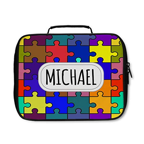 Nylon Insulated Lunch Box Custom Autism Color Puzzles Seemless Pattern adults]()