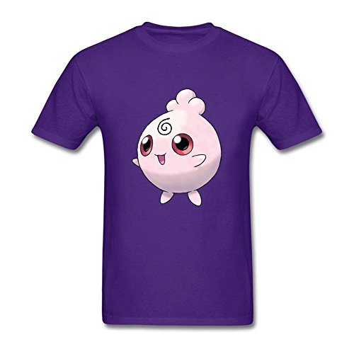 [College Men Chibi Igglybuff Round Neck Short Sleeve T Shirt Purple XL Costume] (Pinky Brain Costume)
