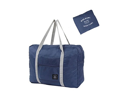 INVODA Foldable Travel Duffel Bag Luggage Sports Gym Water Resistant Nylon Multipurpose for Clothes Organizer (Blue)