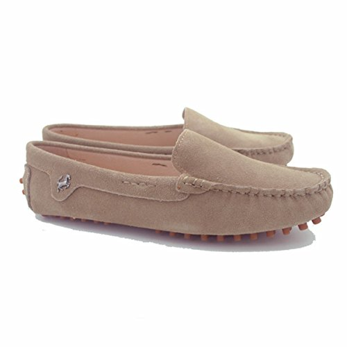 Minitoo Gilrs Ladies Round Toe Casual Loafers Shoes Slipper Flats Khaki MX1Pg