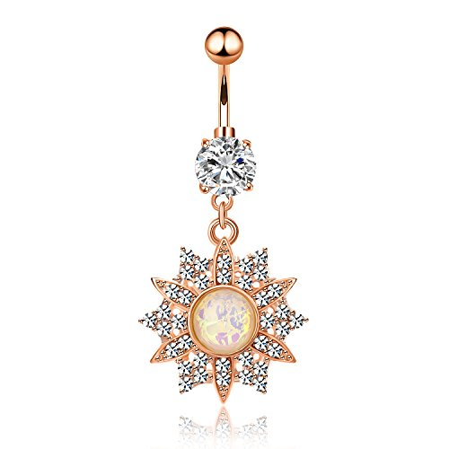 CABBE KALLO Belly Button Rings 14G Opal Jeweled Flower Dangle Surgical Steel Navel Body Piercing Jewelry (Rose Gold 14G=1.6mm)