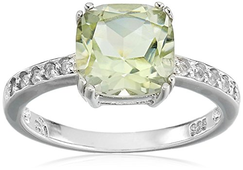Sterling Silver Green Amethyst Ring, Size 7