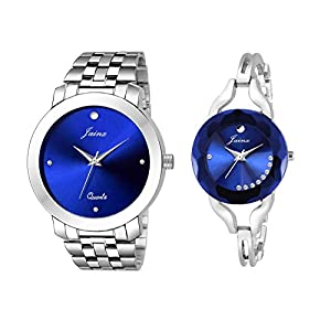 Jainx Blue Dial Round Analogue Watch for Couple – JC455