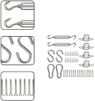 Ombra Giardino Robusto Vela Parasole Hardware Kit per Vele Parasole e Tende Haodou Acciaio Inossidabile Kit di Montaggio Kit di Fissaggio e Installazione 5mm