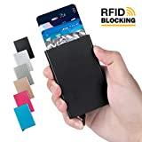 Lungogo RFID Credit Card Holder Minimalist Slim Wallet Front Pocket Card Organizer Automatic Pop Up Design Aluminum Metal Holds 5 Card (Black)