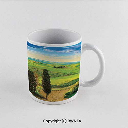11oz Unique Present Mother Day Personalized Gifts Coffee Mug Tea Cup White Nature,Rural Sunset in Italy Countryside with Trees Fresh Meadows and Clear Sky Image Print Decorative,Blue Green Funny Cera