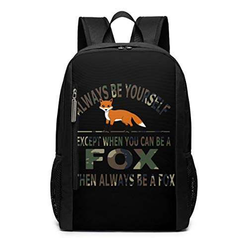 - Camouflage Always Be Yourself Fox Outdoor Travel Laptop Backpack Travel Accessories, Fashionable Backpack Suitable for 17 Inches