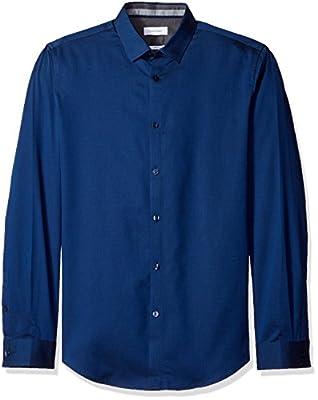 Calvin Klein Men's Slim Fit Long Sleeve Twill Herringbone Button Down Shirt