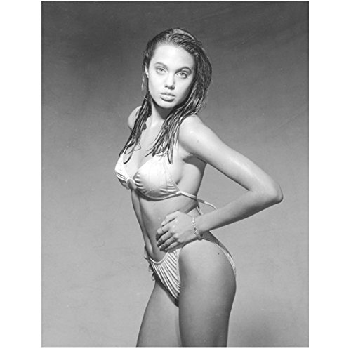 Angelina Jolie 8x10 Photo Young Bikini Standing Black & White jaa