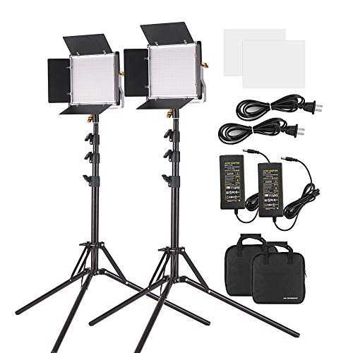 Andoer 2 Packs LED Video Light with 78.7 Inches Stand Lighting Kit Dimmable 660 LED Bulbs Bi-Color Light Panel 3200-5600K with U Bracket & Barndoor for Studio Photography Video Outdoor Shooting
