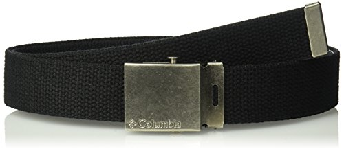 (Columbia Men's & Boys' Military Web Belt - Adjustable One Size Cotton Strap and Metal Plaque Buckle)