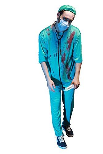 Men's Surgeon Doctor Bloody Blue Halloween Costume - Vampire Doctor Costume