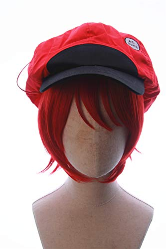 CosplayWigsCom: Red Blood Cell of Cells at Work Inspired Short Bright Red Bob Wig with Newsboy Cabby Cap Hat Prestyled Halloween Japanese Anime Cosplay party Hair for Women and Teens]()