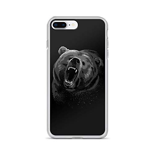 iPhone 7 Plus/8 Plus Case Anti-Scratch Creature Animal Transparent Cases Cover Angry Bear Animals Fauna Crystal Clear ()